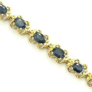 Oval Blue Sapphire Yellow Gold Tennis Bracelet 17-